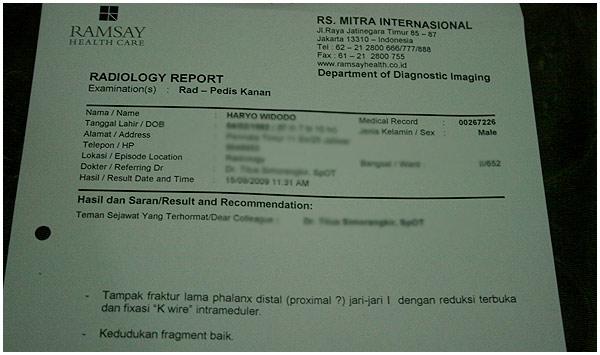 Surat rekomendasi dari rekan dokter kalau pen sudah boleh di cabut